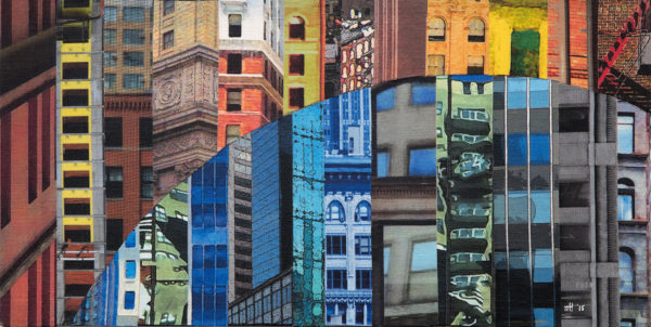 Collage of different multi-colored perspectives of city landscapes.
