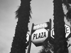 "Two large palms trees surround a sign that reads, ""Hotel Plaza"""