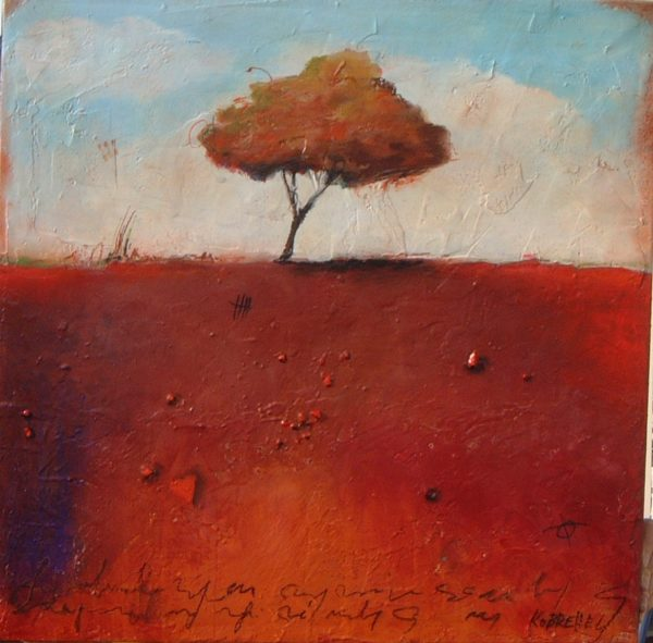 red acrylic painting of a tree