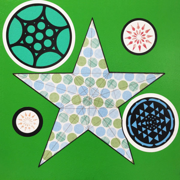 A star with four different sized circles surrounding it. Each shape has its own geometric pattern inside of it.