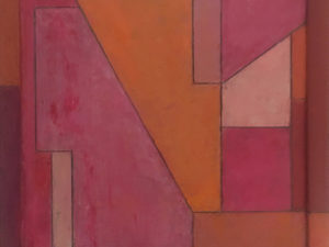 Abstract warm-toned geometric painting.