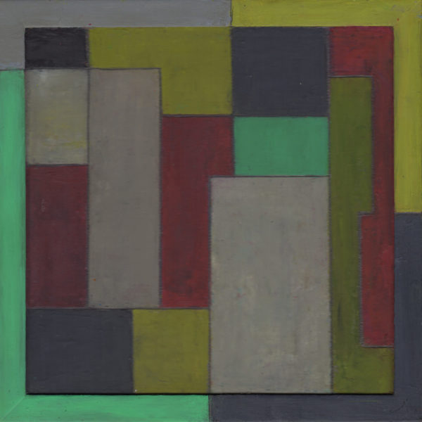 abstract green yellow and blue geometric painting