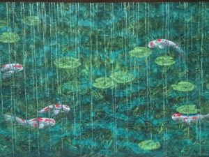 Lily pads and koi fish in monochromatic stylized water.