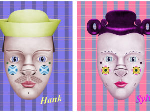 "Two faces with different styles on contrasting backgrounds. The right face is labeled as ""Sylvie"" and the left is ""Hank""."