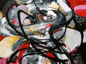 Abstract work with an image of a woman in a swirl of colors, various reds, grey and black