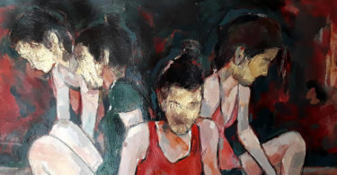 Four figures all sit with their backs facing the others against an abstracted dark background.