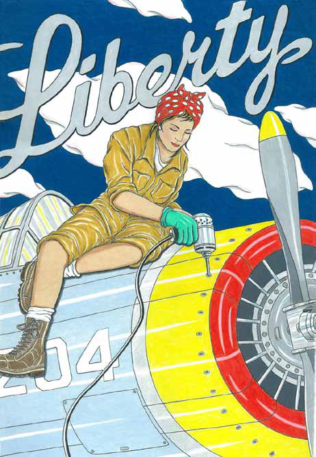 Drawing of a woman sat riveting a prop aircraft dressed as Rosie the Riveter.
