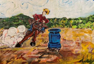 Expressionist image of a cowboy on horseback barrel racing, with green mountains in the background