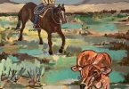 Painting of a cowboy on a horse in the background with a young calf in the foreground.
