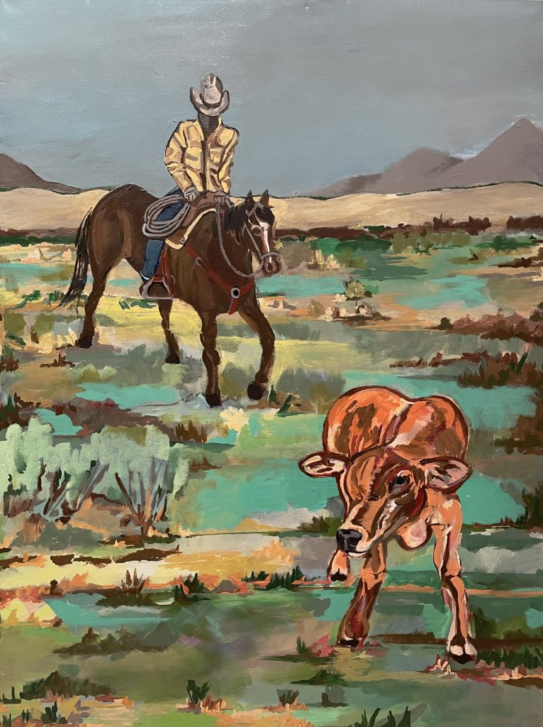 painting of a cowboy on a horse in the background with a young calf in the foreground in Wyoming