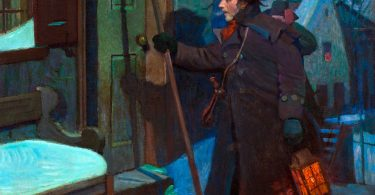 Painting of a man at a door