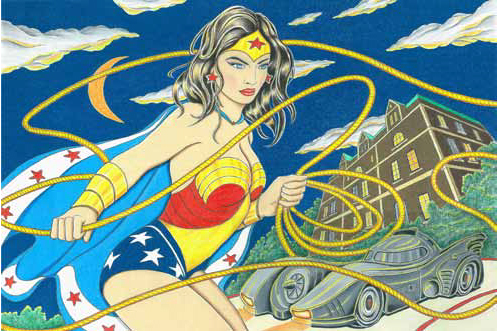 Drawing of Wonder Woman wielding a lasso with the Batmobile and Wayne Manor in the background.