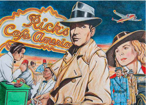 "Drawing compilations of many scenes from the movie ""Casablanca"", with Rick in the center wearing his fedora and raincoat."