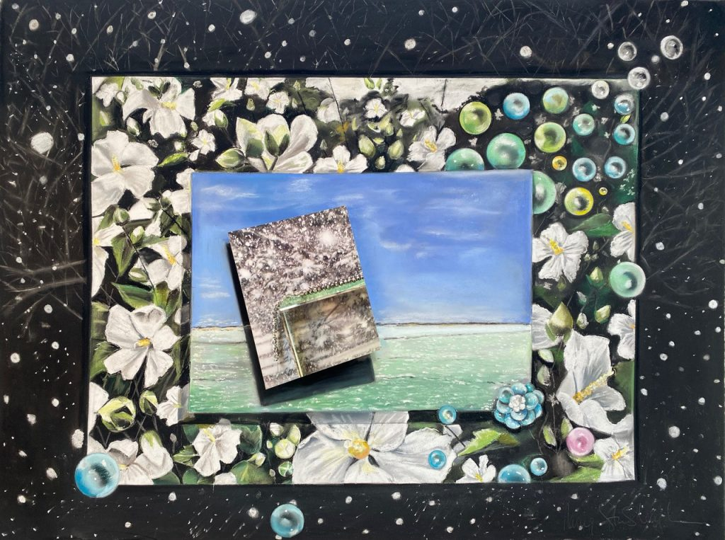 collage-like image, starting with a dark background with branches and lights, the next level is full of white flower, green leaves and green/blue bubbles, then a photograph like image of a blue sky, sandy beach and green seas, then a top image at an angle  of a snowy  landscape with a small structure.