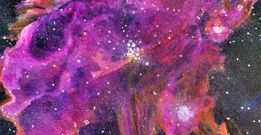 Abstract image of the galaxy with a purple haze over a dark sky and lots o stars and planets.