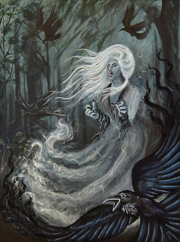 in a forest with towering black trees, a witch like woman with flowing white hair is wearing an animated long dress.  a black crow has its wings spread and mouth open.