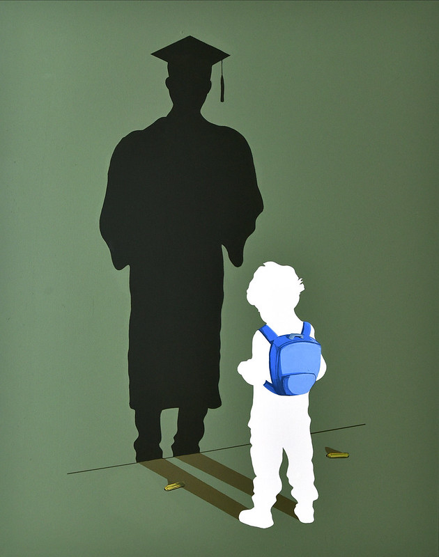 white outline of a child wearing a blue backpack, casting a shadow of a man in a graduation gown and cap,