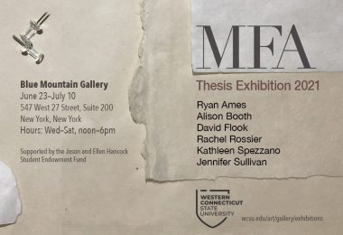 Show Card for MFA Thesis Exhibition 2021 at Blue Mountain Gallery. Information detailed in link