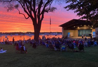 Port Washington Bandshell on the water at sunset