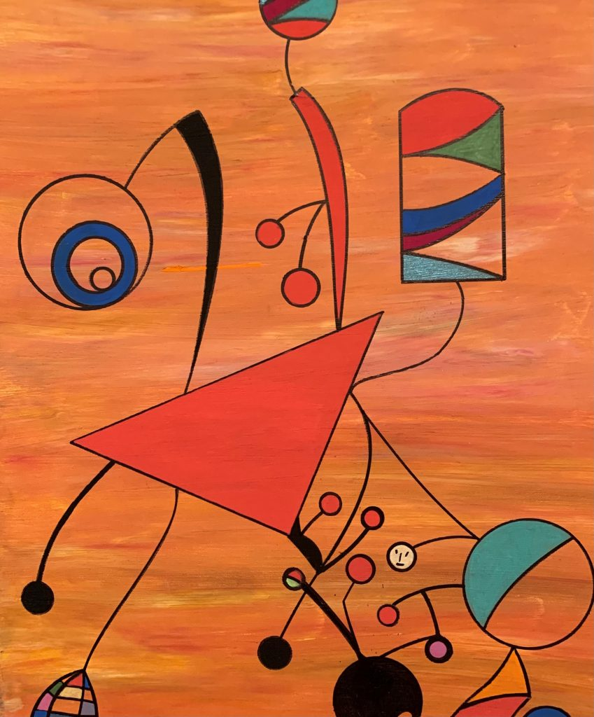 Orange background, colored geometric shapes connected with string-like lines.