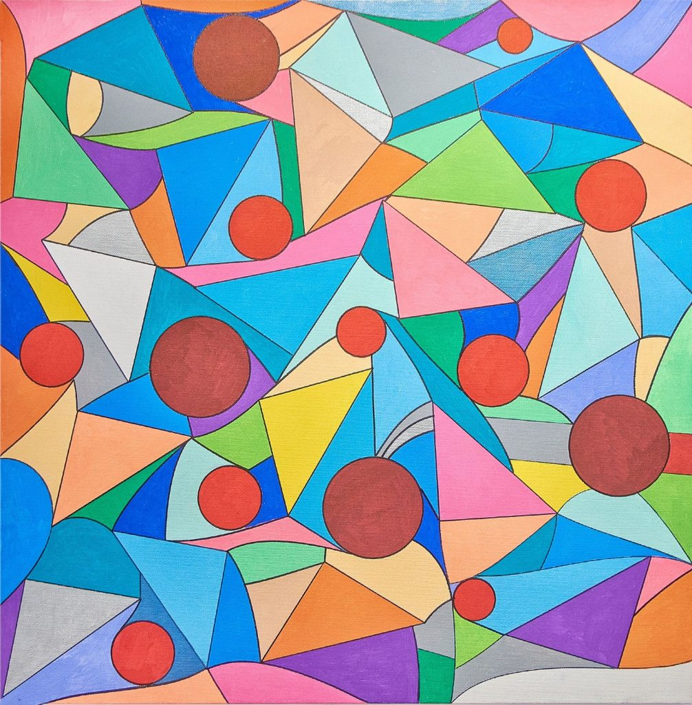 multi-colored geometric shapes fitted like an undulating optical illusion jigsaw puzzle, interspersed with red/orange circles.
