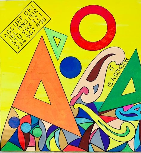 Yellow background, stencil matts, right angle triangles, design forms and other geometric shapes in multi colors.