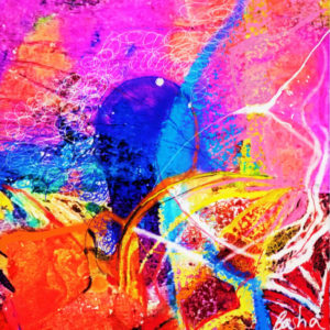 very bright multi-colored abstract painting, with a leaf-like image in the center surrounded with swathes of color and asymmetric lines.