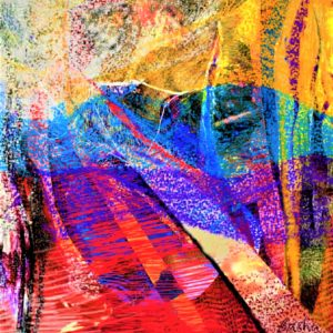 abstract painting with multi-colored horizontal swathes giving a look of woven tapestry