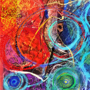 abstract work with circular and swirls blues/greens and background red/yellow.