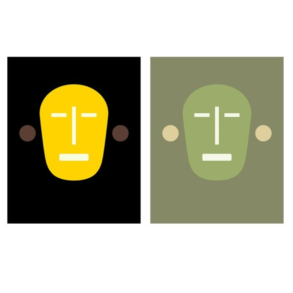 minimalist mask like face with slits for eyes, nose and mouth and circles for ears. One image in yellow and one in green