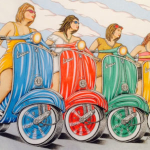 Drawing of a line of 4 women on Vespa bikes. Each bike is a different color, blue, orange, green and yello
