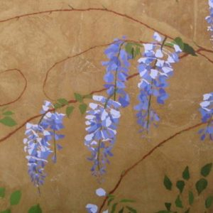 painting of wisteria flowers on a brown background and a few green leaves rising from below