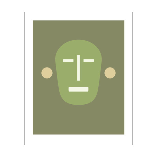 mask like image of a face in green