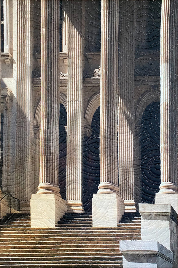 image of wide steps, tall columns and arched doorways, printed on cloth and quilted