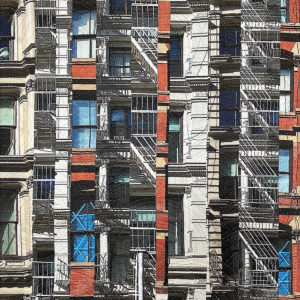 collaged imaged of NY buildings printed on fabric and quilted
