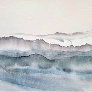 A wash of ink on paper depicting mountains in blue, black and grey