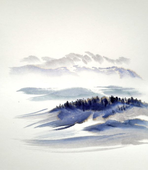 ink wash on paper depicting snowy mountains and a forest to the foreground