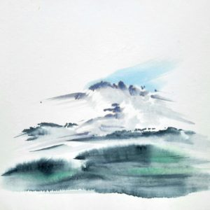 ink wash on paper depicting mountains snowy in the background and green grass in the foreground