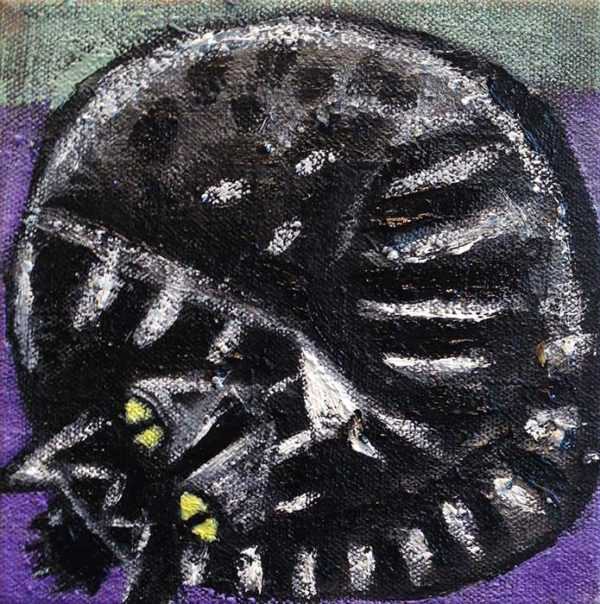 A black and white painting of a cat curled up