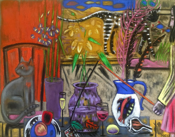 painting of 2 cats, a woman, a table full of vases, flower and jugs.