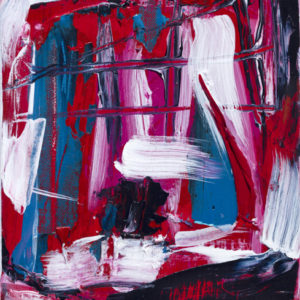 Acrylic on canvas hatch style brush strokes of red, blue, white and black