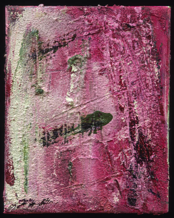 abstract painting mainly in pink with extra white and black strokes