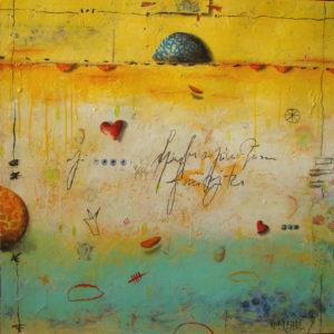 expressionist work mainly in yellows at the top and blue/green at the bottom with hearts, balls, writing and symbols sparsely spread throughout the painting