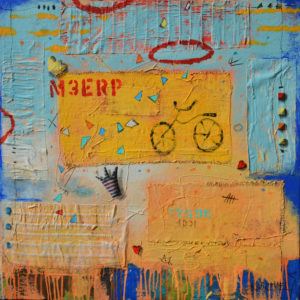 expressionist work mainly in blues and yellows, with red words and some graphics. - main image of bicycle in the center of work