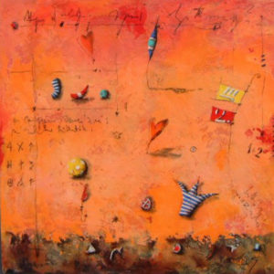expressionist work mainly on an orange background with a little brown earthlike edge at the bottom. Small drawings of knickknacks and symbols spread evenly over the work