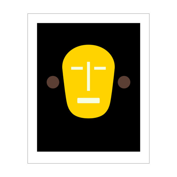 mask like image of a face in yellow