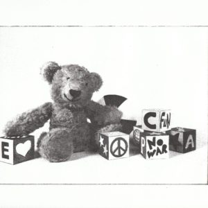 etched photograph of a teddy bear and blocks