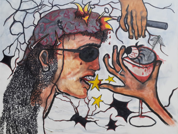 side portrait of a person with dark glasses and two hands in front of the face. One with a glass with an eyeball in it. background of stars and leaves
