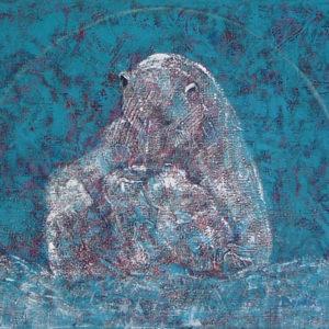 Blue background with a bluish polar bear with cub