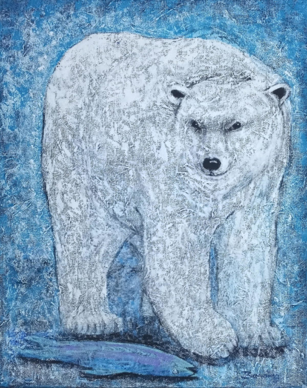 blue speckled background with a large white polar bear
